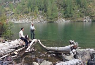 Pesca a mosca al Salmerino nei laghi alpini \ Fly fishing of the artic char in alpine lakes \ pêche à la mouche de l'omble chevalier dans les lacs alpins